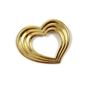 Vintage large gold heart brooch